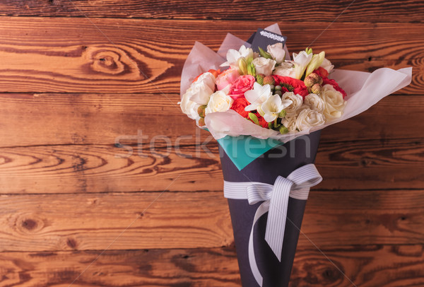 colorful bunch of flowers in a cone with copyspace Stock photo © feedough