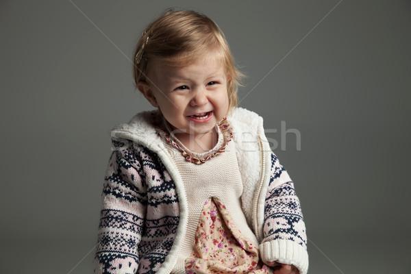 Cute 17 meses gritando gris Foto stock © feedough