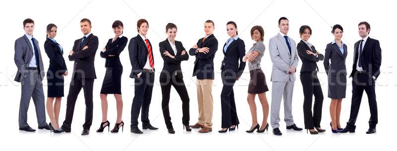 Сток-фото: счастливым · бизнес-команды · изолированный · белый · бизнеса · женщину