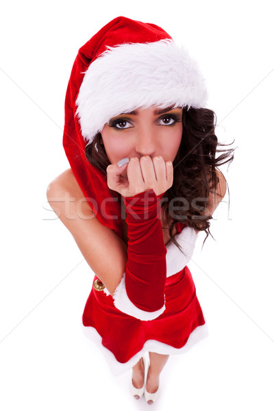 curious woman in christmas clothes  Stock photo © feedough