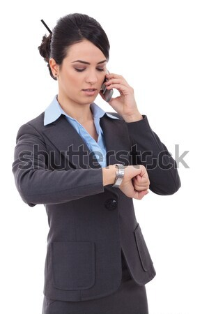 business woman checking time on phone Stock photo © feedough