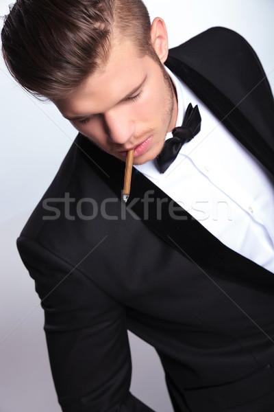 Top мнение деловой человек сигарету рот Сток-фото © feedough