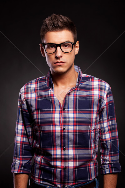 young man looking very seriously at the camera Stock photo © feedough