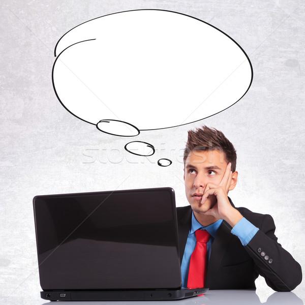 Hombre de negocios burbuja pensamientos pensativo ordenador hombre Foto stock © feedough