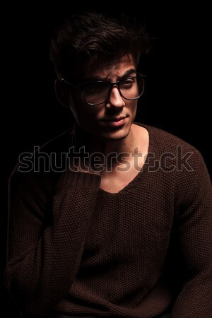handsome man in leopard print posing with hand in pocket Stock photo © feedough