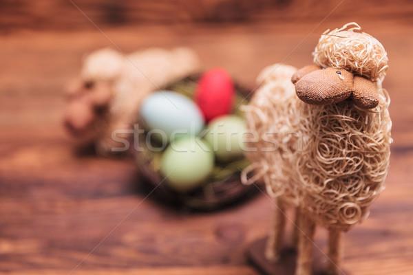 Pasen speelgoed schapen oud hout liefde Stockfoto © feedough