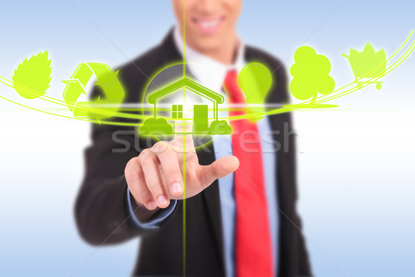 Photo stock: Homme · d'affaires · poussant · eco · bouton · maison
