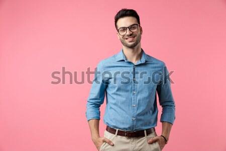 casual man raises his lapel Stock photo © feedough
