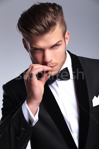 Iş adamı duman puro portre zarif Stok fotoğraf © feedough