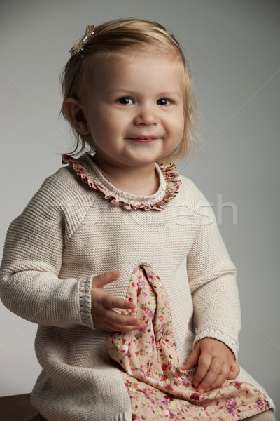smiling 17 months old girl sitting Stock photo © feedough