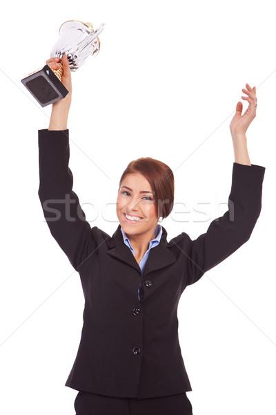 молодые деловой женщины победа трофей портрет возбужденный Сток-фото © feedough