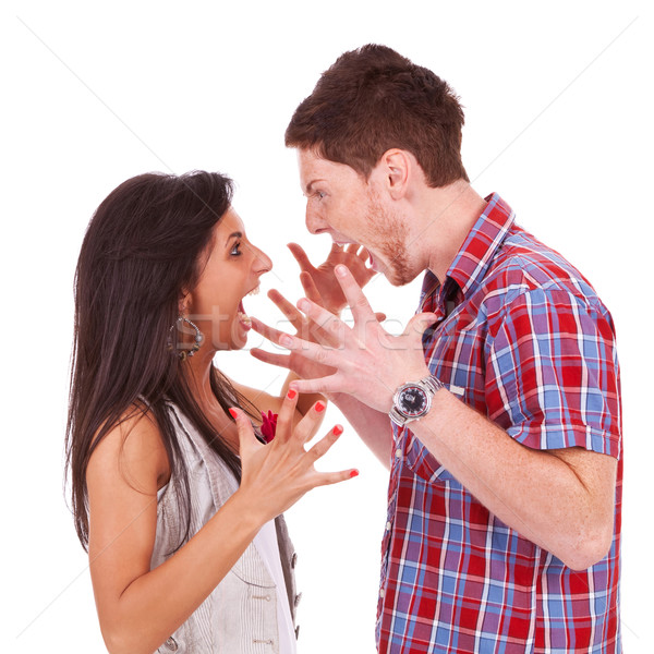 Young couple screaming violently at eachother Stock photo © feedough