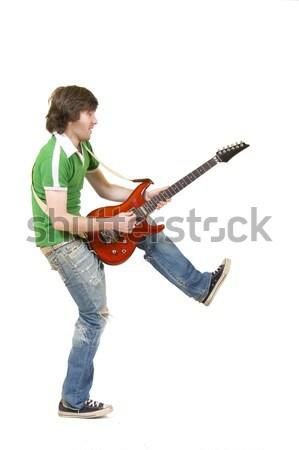 Foto stock: Hombre · saltar · jugando · guitarra · casual · joven