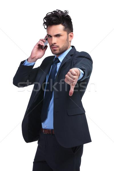 Iş adamı kötü haber telefon genç iş el Stok fotoğraf © feedough