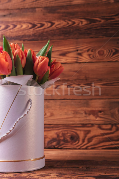 cutout image of a flowers box with orange tulips  Stock photo © feedough