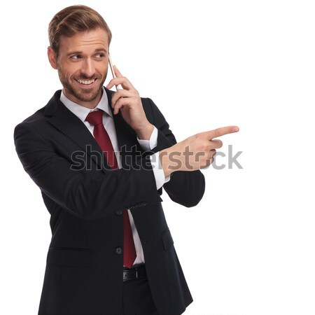 business man making the ok thumbs up gesture Stock photo © feedough