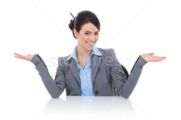 деловой женщины сидят за столе молодые красивой Сток-фото © feedough