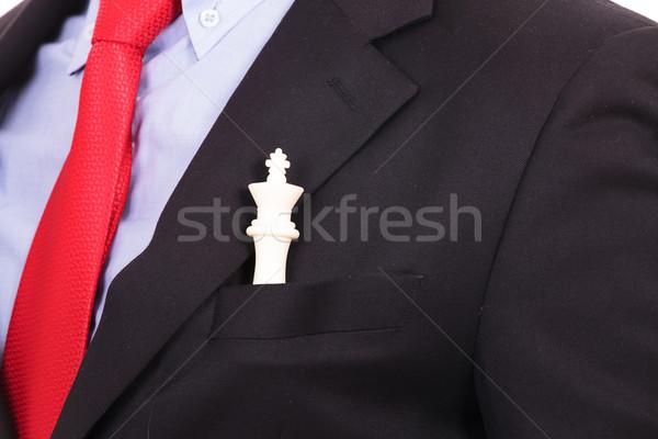 Blanco rey del ajedrez traje negro bolsillo primer plano sesión Foto stock © feedough