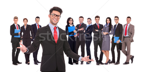 leader welcoming to his successful business team  Stock photo © feedough