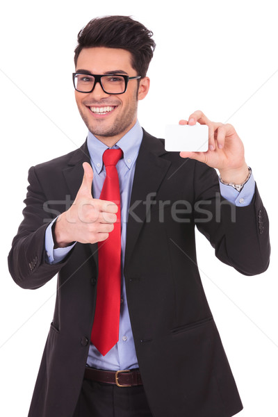 presenting blank card & thumbs up Stock photo © feedough