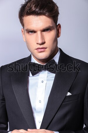 young fashion model in suit and tie looking away Stock photo © feedough