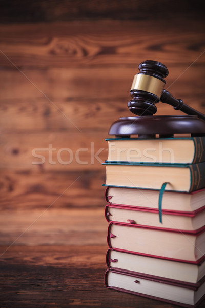 Boglya törvény könyvek kalapács felső stúdió Stock fotó © feedough