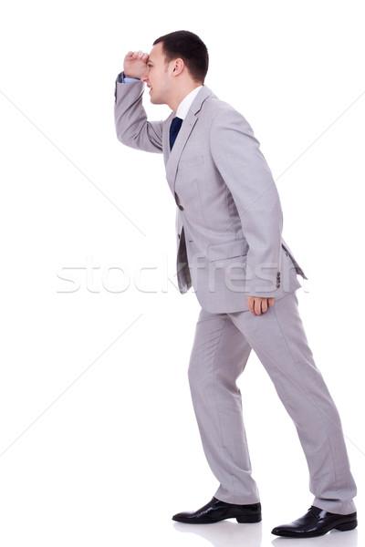 Grande expectativas olhando para a frente homem de negócios branco Foto stock © feedough