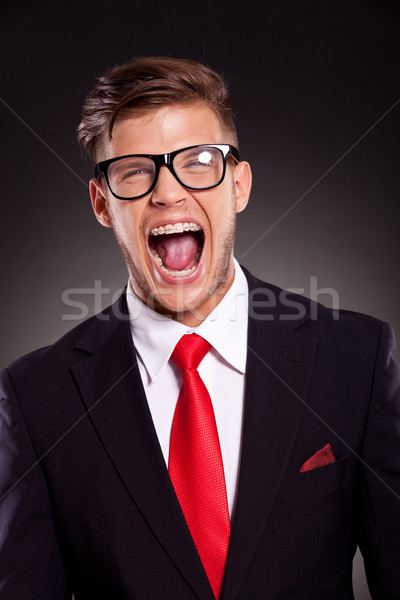 Stock photo: young business man shouting