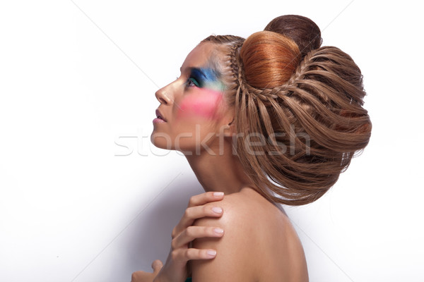 beautiful young woman with great hairstyle and makeup Stock photo © feedough