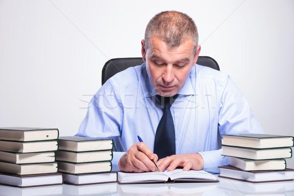 Stockfoto: Oude · zakenman · bureau · senior · man · vol