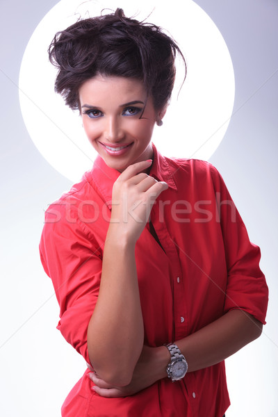 young woman smiles with aura around head Stock photo © feedough