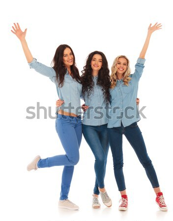 happy casual people inviting you to join Stock photo © feedough