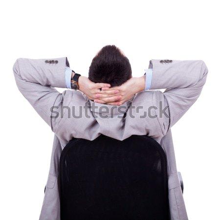 сидящий Sexy человека Hat белый стороны Сток-фото © feedough
