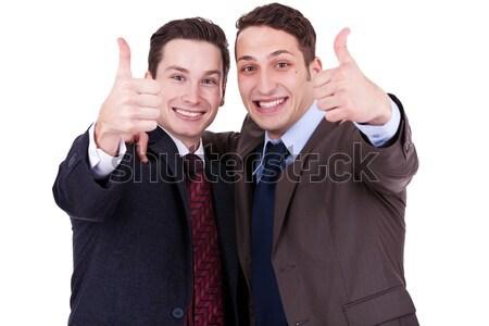üzletemberek gesztikulál győzelem kettő fiatal izolált Stock fotó © feedough