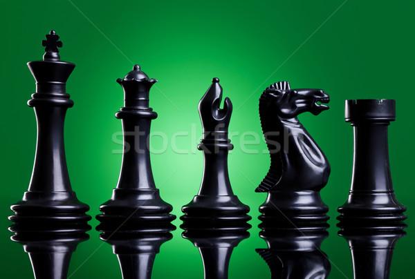 Fekete sakkfigurák rendelés jelentőség zöld arc Stock fotó © feedough