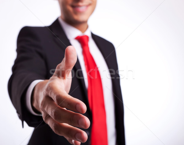 Stock photo: business man or student ready to handshake