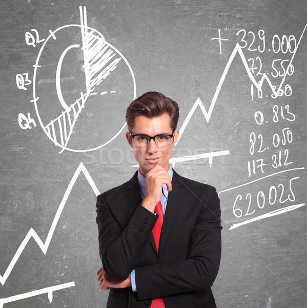 Man charts jonge zakenman permanente grafieken Stockfoto © feedough