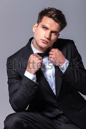 thoughtful business man with hand on chin Stock photo © feedough