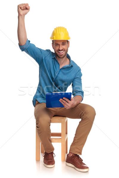 Felice vincente costruzione ingegnere mano aria Foto d'archivio © feedough