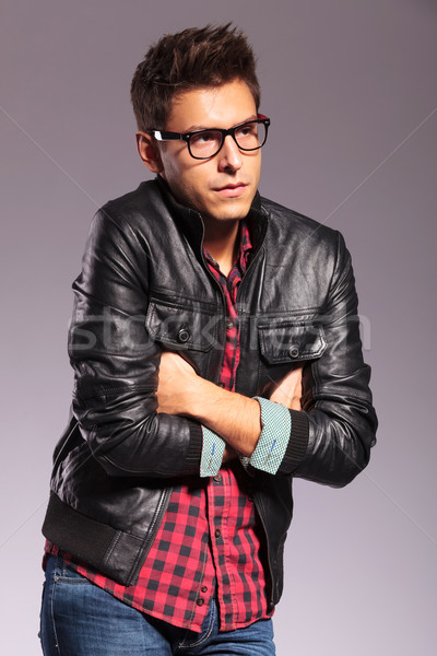 young casual man is being cold Stock photo © feedough