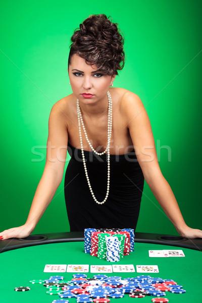 Szexi nő póker kéz kéjes nő áll Stock fotó © feedough