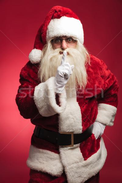 Verwonderd kerstman stilte teken permanente Stockfoto © feedough