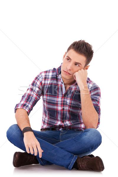 Stock photo: sad looking casual man