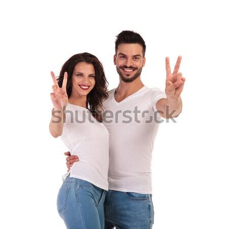 Foto stock: Sonriendo · jóvenes · casual · Pareja · victoria