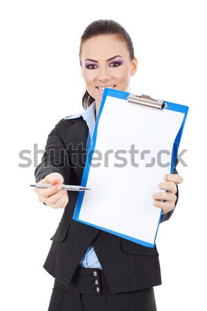 деловой женщины подписи молодые буфер обмена изолированный Сток-фото © feedough