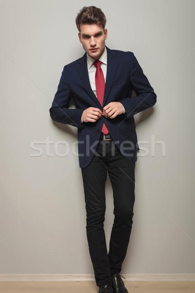 Egészalakos kép fiatal jóképű üzletember nyitás Stock fotó © feedough