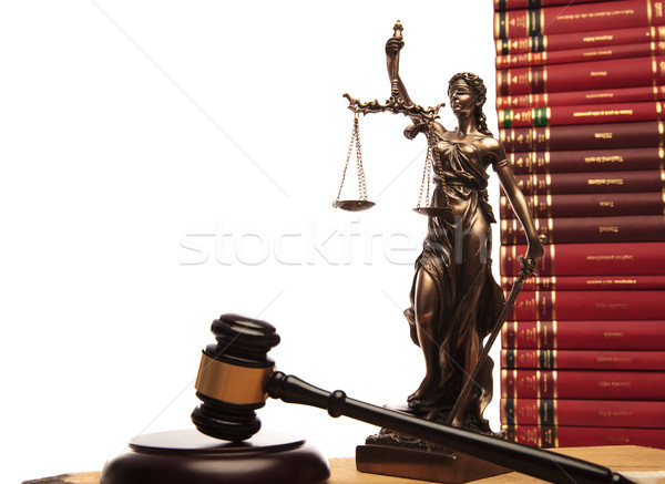 justice goddess , gavel and law book Stock photo © feedough