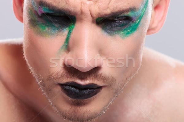 Casual homem estranho make-up moço Foto stock © feedough