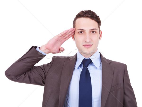 military businessman saluting Stock photo © feedough