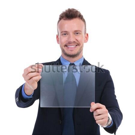 Uomo d'affari punti mani isolato bianco capelli Foto d'archivio © feedough